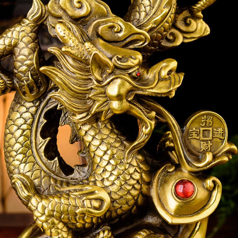 Tượng linh vật rồng chiêu tài lộc bằng đồng thau phong thủy Tâm Thành Phát