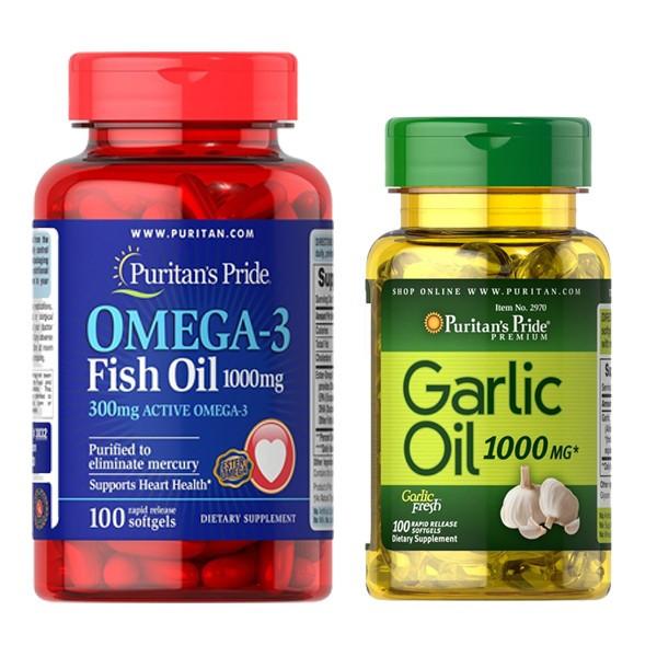 Combo 2 Thực phẩm chức năng Puritan's Pride Omega dầu cá và dầu tỏi 1000mg (100 viên/hộp)