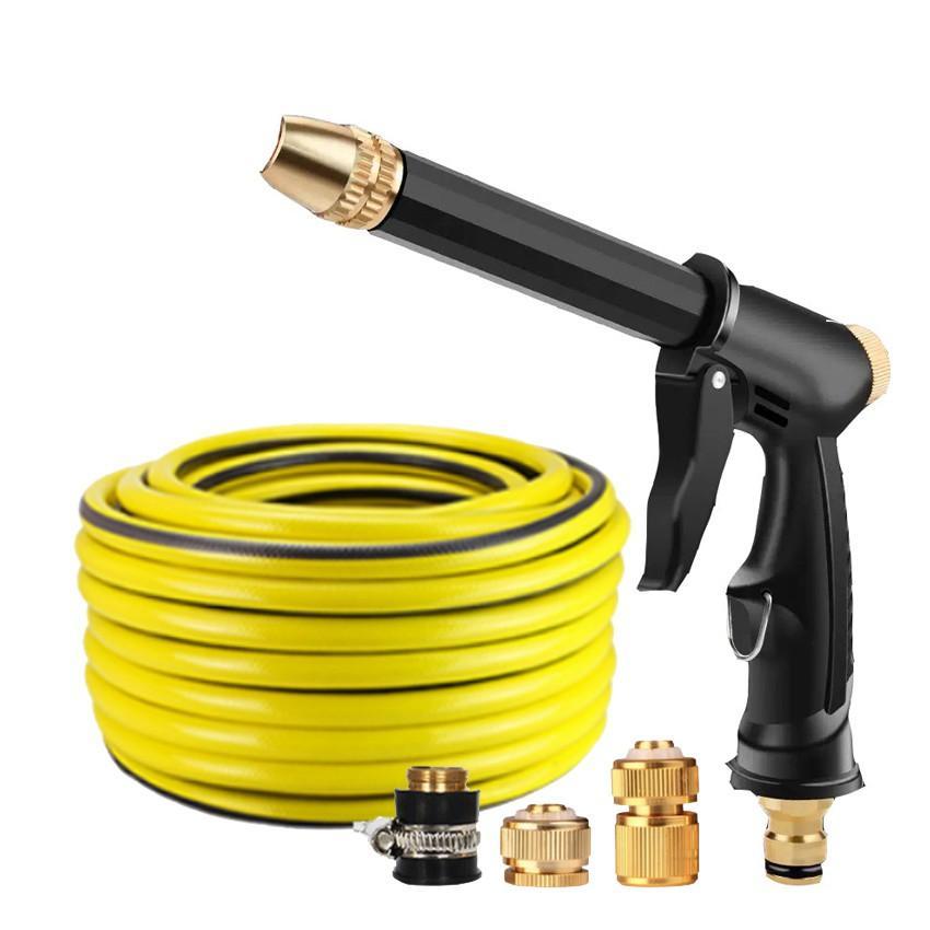 Bộ dây và vòi xịt rửa xe tưới cây tăng áp,vòi xịt rửa,vòi tưới cây 810-2498 (dây vàng- cút nối đồng)