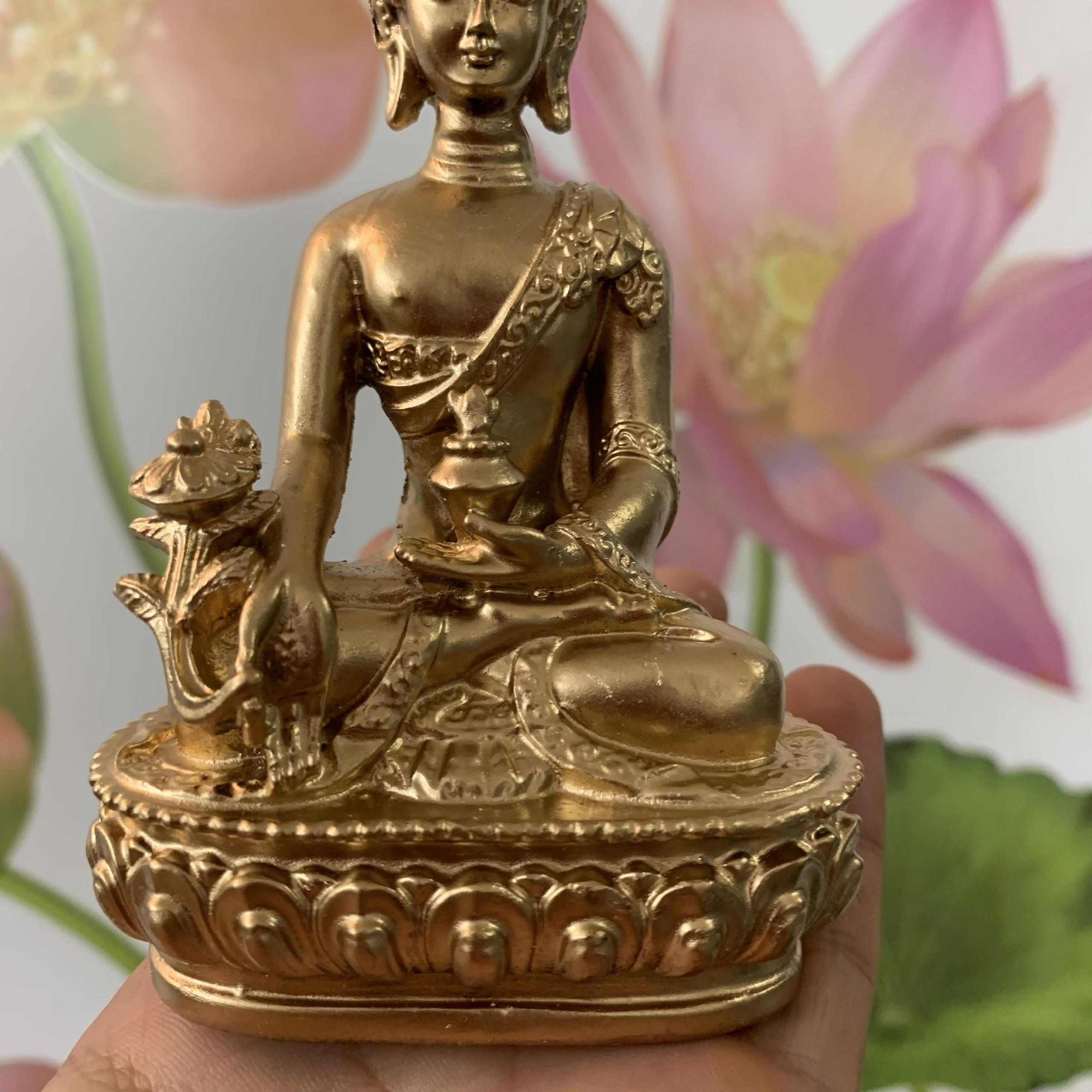 Tượng đá Phật Dược Sư Lưu Ly Quang ngồi tòa sen - Cao 12cm - Màu nhũ đồng