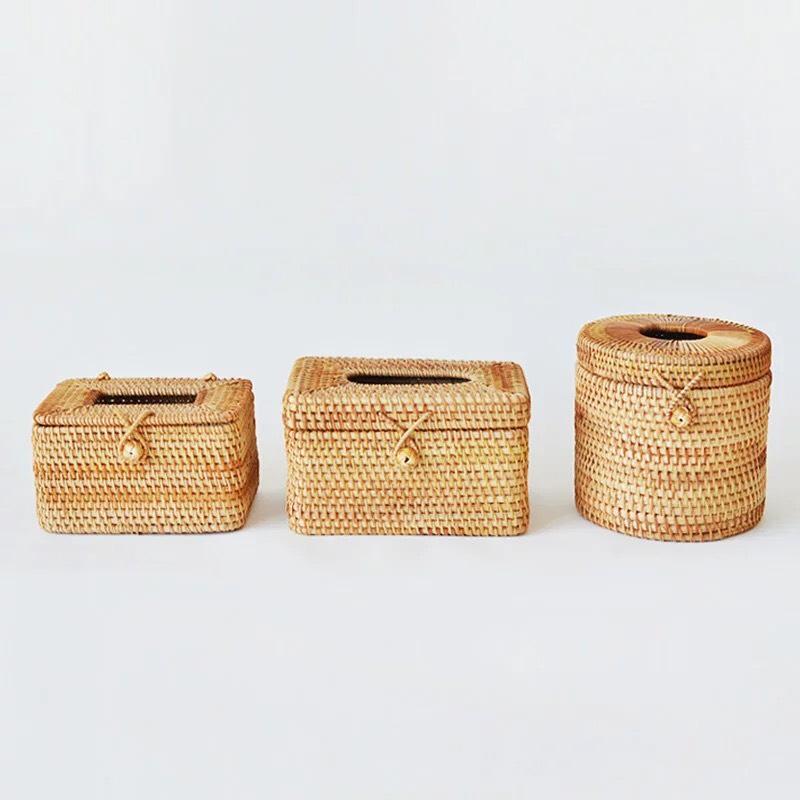 Hộp giấy ăn mây tre đan guột 11