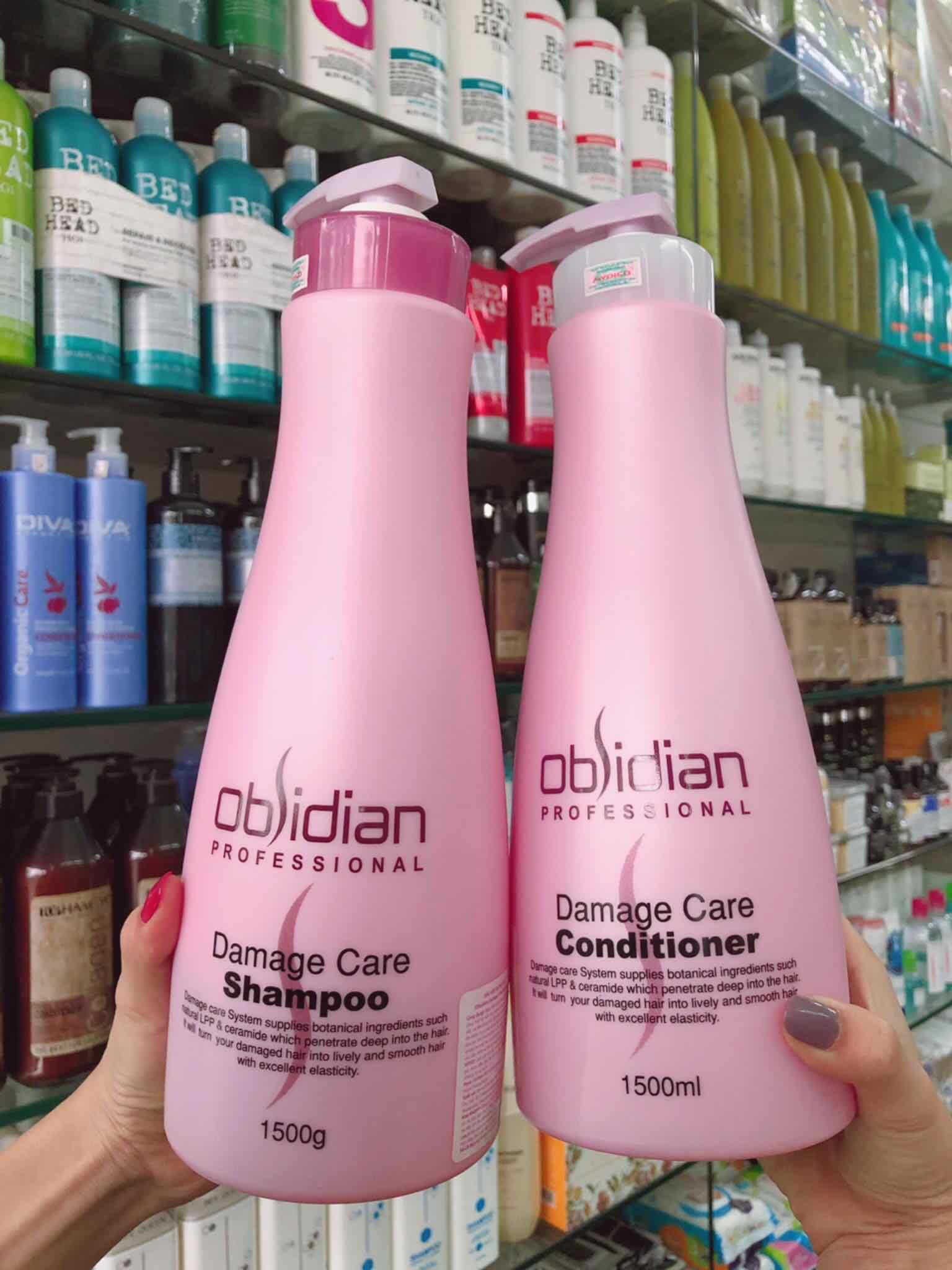Bộ dầu gội/xả tái tạo tóc hư tổn Obsidian Professional Damage Care Hàn Quốc (2x1500ml) tặng kèm móc khoá