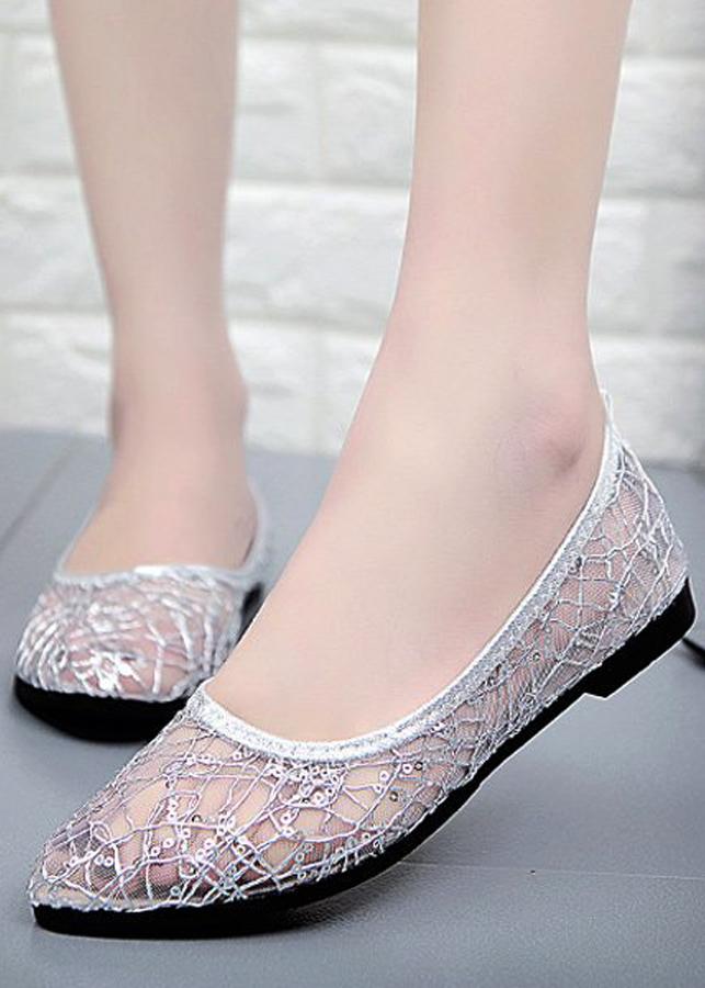 Giày búp bê lưới cao su thoáng mát siêu bền-96305 -Trắng- 39