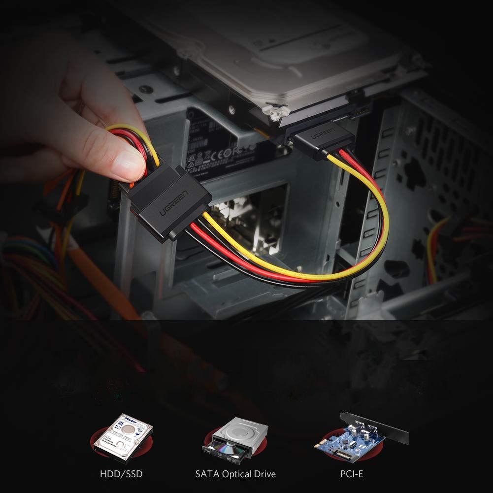 Cáp nối nguồn SATA 15Pin nối dài 1 đầu đực, 1 đầu cái, kết nối nguồn điện máy tính với ổ cứng Serial ATA, SSD, ổ đĩa quang, đầu ghi DVDB và thẻ PCI dài 20cm UGREEN US283 50718 - Hàng Chính Hãng