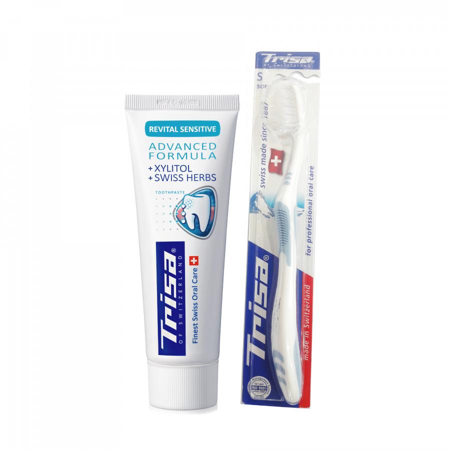 Kem Đánh Răng TRISA Revital Sensitive 75ml + Tặng Kèm Bàn Chải Đánh Răng TRISA Uno