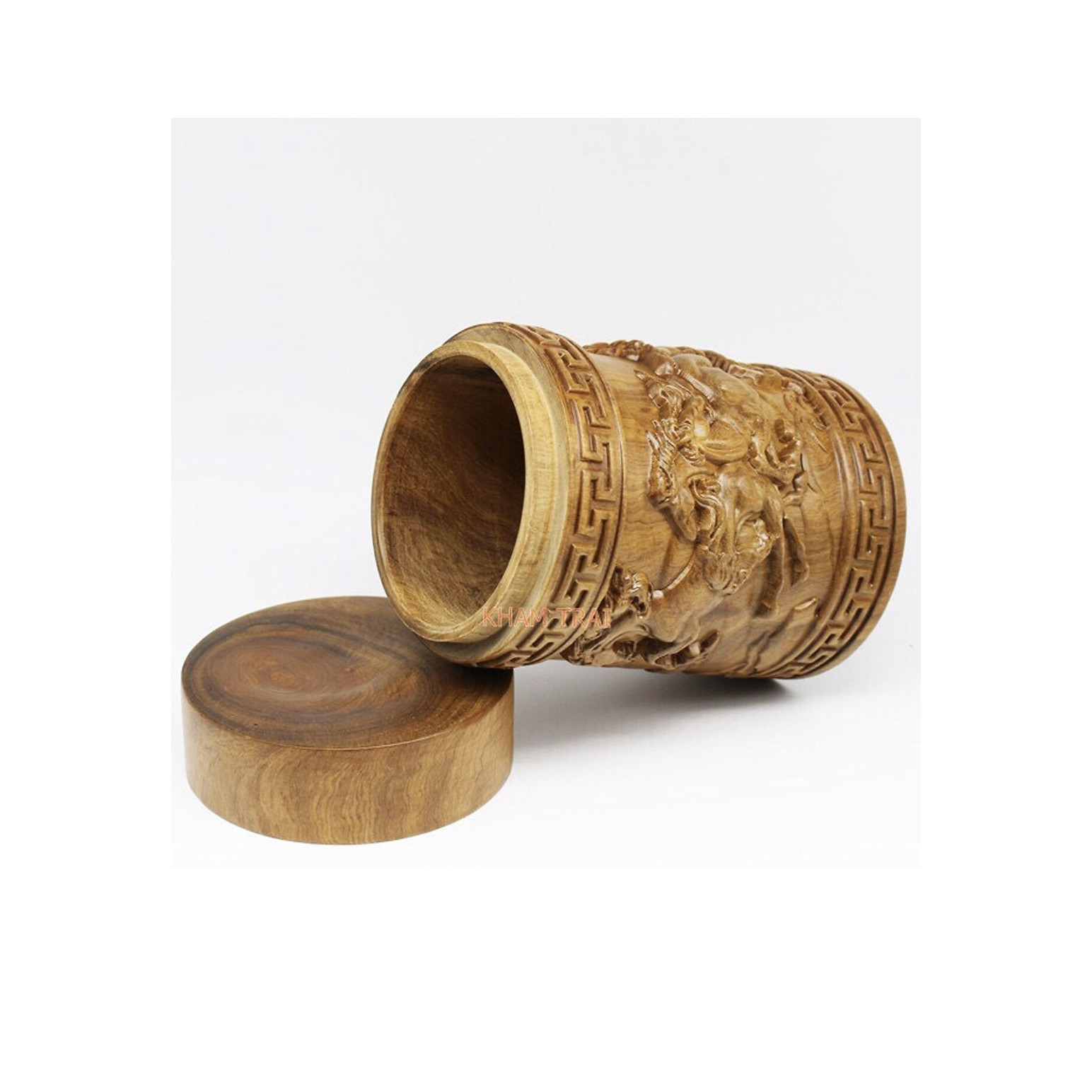 Hộp đựng trà - hộp đựng chè cao cấp gỗ bách xanh nguyên khối đục chạm mã đáo thành công TP1068