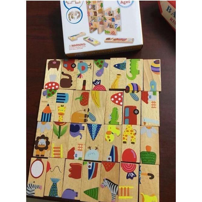 Bộ ghép hình domino gỗ họa tiết dễ thương nhiều màu sắc