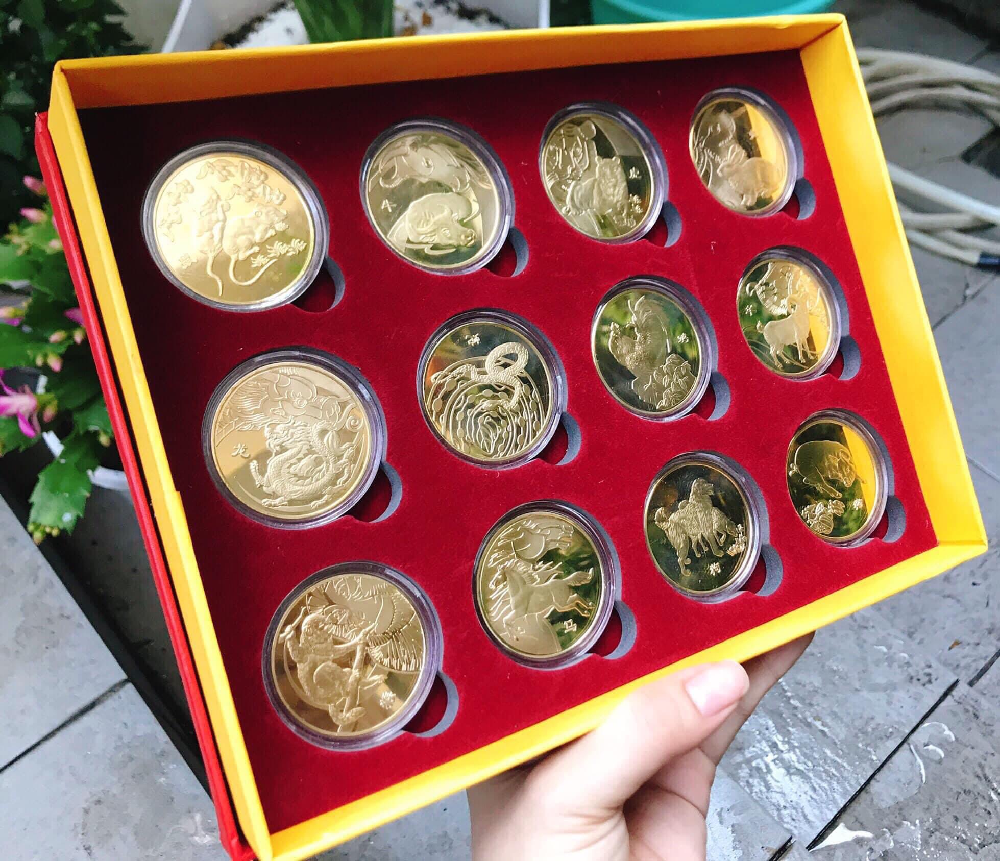 Hộp Tiền Xu 12 Con Giáp Vàng , Hộp Quà Tặng Tết Sang Chảnh