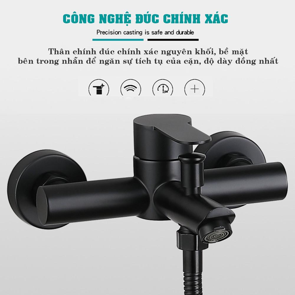 Bộ vòi hoa sen tắm nóng lạnh đen CHÍNH HÃNG KAMA ST08 - Củ sen inox 304 sơn đen chịu nhiệt cao cấp, thiết kế sang trọng, đa chức năng, có kệ để dầu gội phòng tắm.