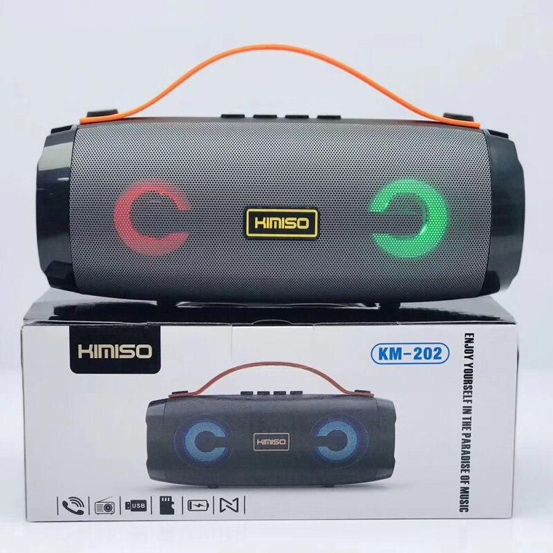 Loa bluetooth KIMISO KM-202 TWS kết nối cùng lúc 2 loa - có đèn led và dây đeo (màu ngẫu nhiên) HÀNG CHÍNH HÃNG
