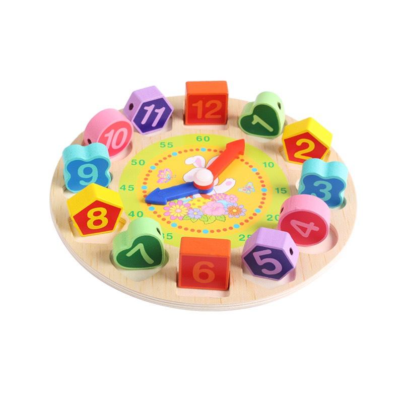 Đồng hồ trí tuệ _ bé tập làm quen hình khối, màu sắc, con số, xem giờ và xâu dây MK00150 mẫu ngẫu nhiên