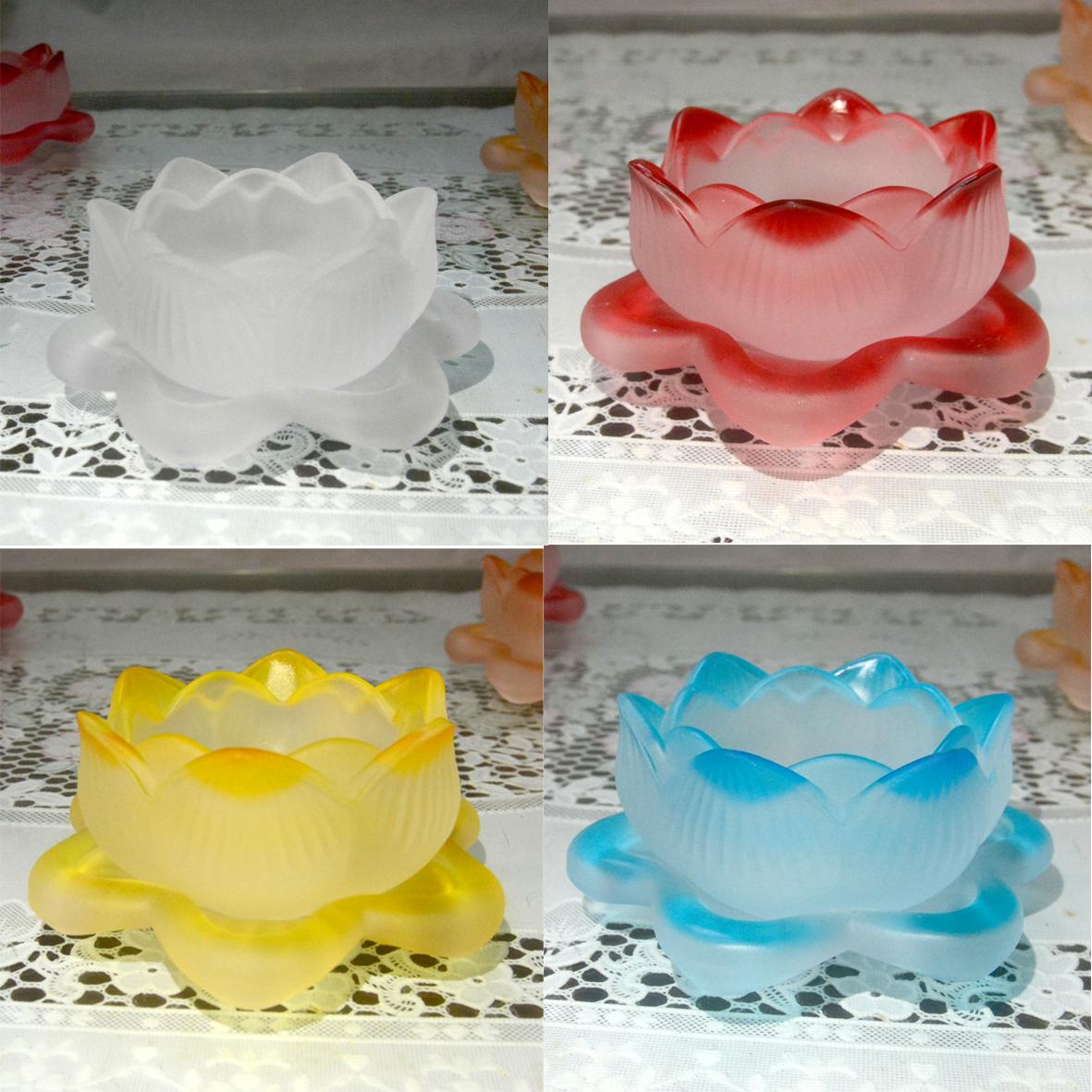 Đế hoa sen lưu ly nhiều màu đặt đèn cầy