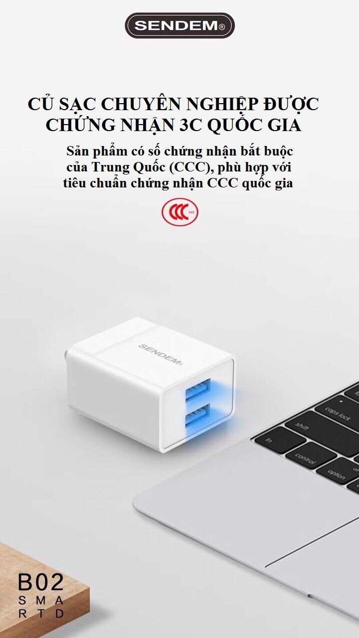 Củ sạc 2 cổng USB SENDEM B02 sạc nhanh - Hàng chính hãng