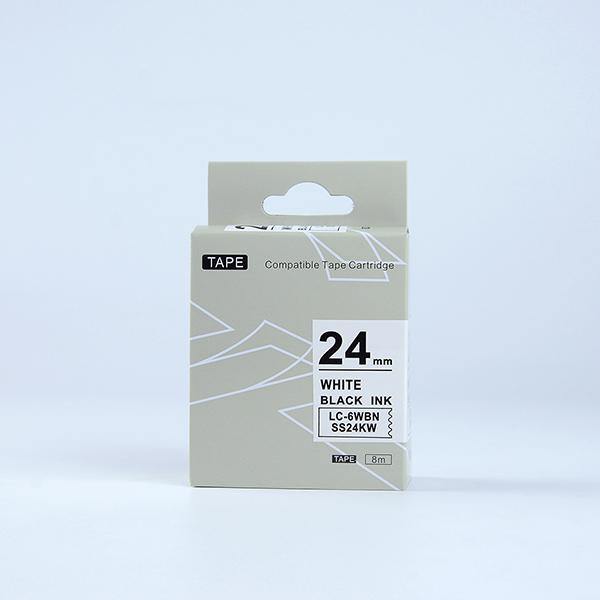 Tape nhãn in tương thích SS24KW (LC-6WBN) dùng cho máy in nhãn KingJim SR & EPSON LW (chữ đen nền trắng, 24mm)