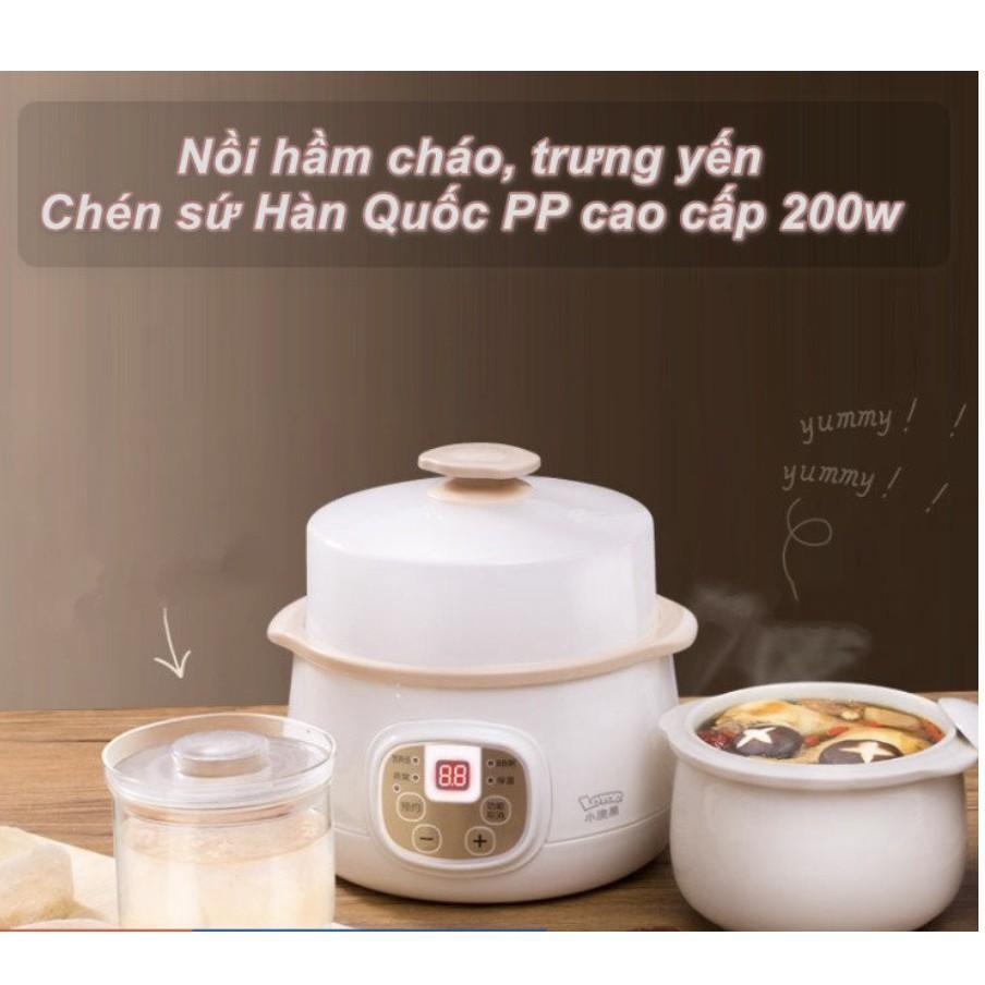Nồi hầm đa chức năng hầm cháo trưng yến Chén nấu canh sứ 200w màu trắng kem
