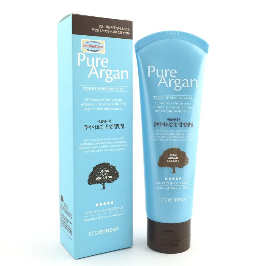 Tẩy da chết thảo dược Pure Argan Tone Up Peeling Gel Hàn Quốc 120ml + Móc khóa