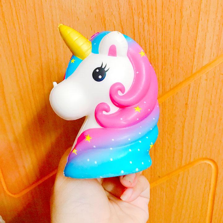 Squishy Unicorn cầu vồng quà tặng cho bé - Galaxy trắng