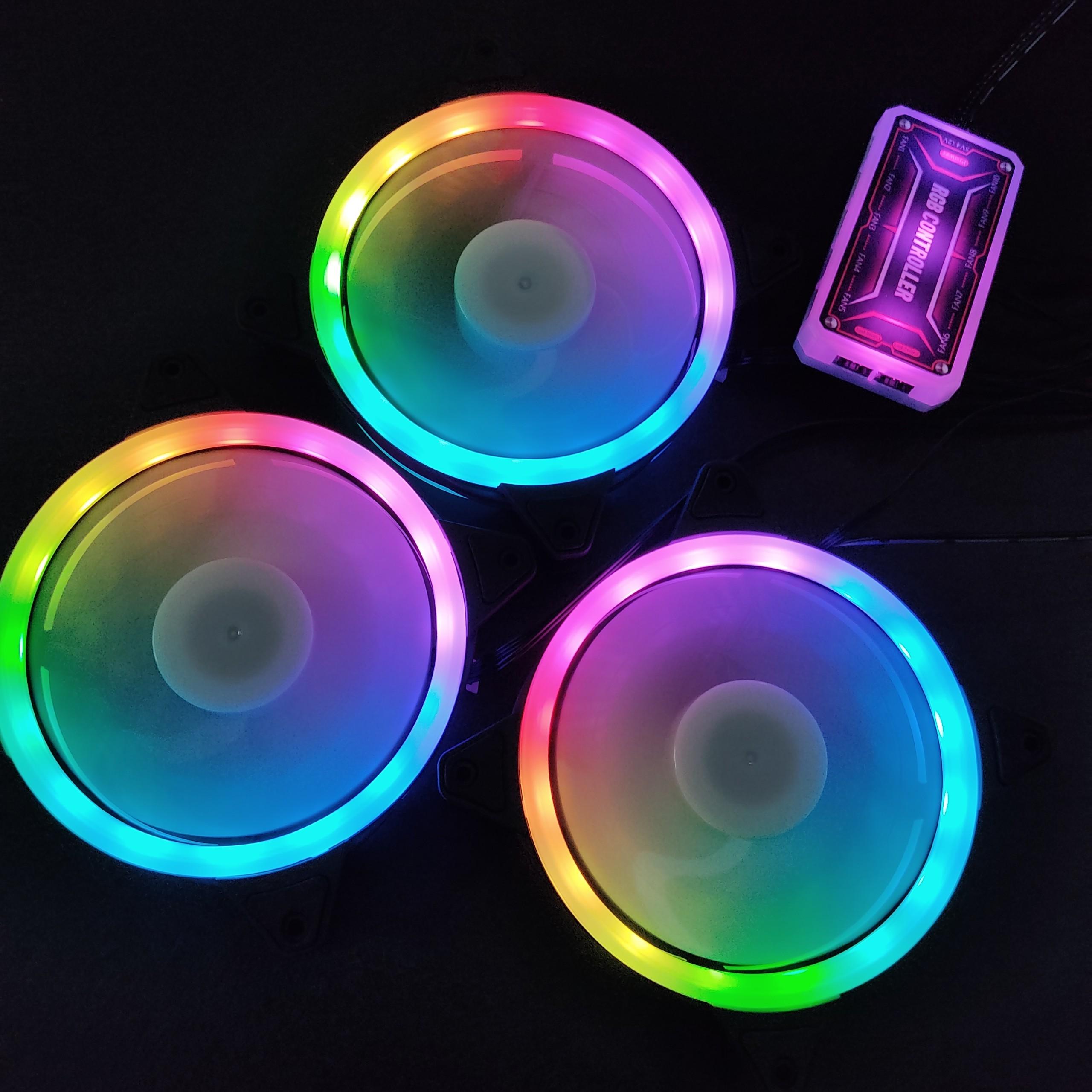 3 Quạt Tản Nhiệt, Fan Case KNC V2 Led RGB Dual Ring đồng bộ Hub điều khiển