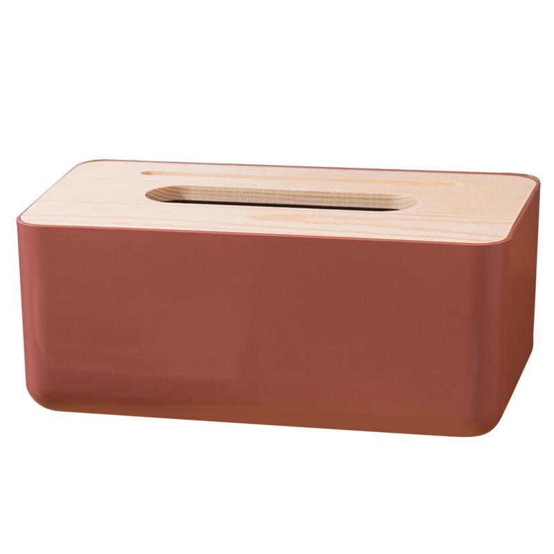 Hộp đựng khăn giấy trơn basic nắp gỗ kèm giá đỡ điện thoại 23x13x10cm