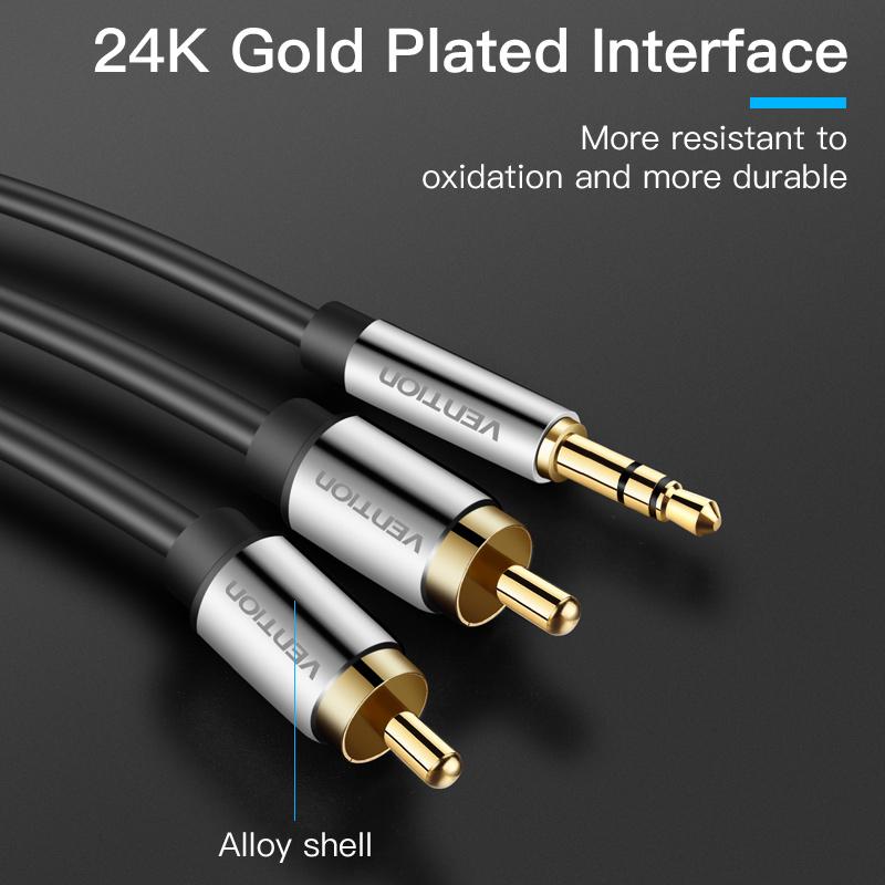 Cáp chuyển Audio 3.5mm sang 2RCA hàng chính hãng Vention BCFBG - 1.5m