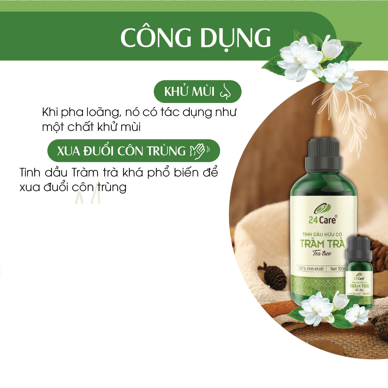 Tinh dầu Tràm Trà 24Care 10ML - Chiết xuất thiên nhiên, thanh lọc không khí, mùi hương trầm ấm, giảm căng thẳng, cân bằng cảm xúc.