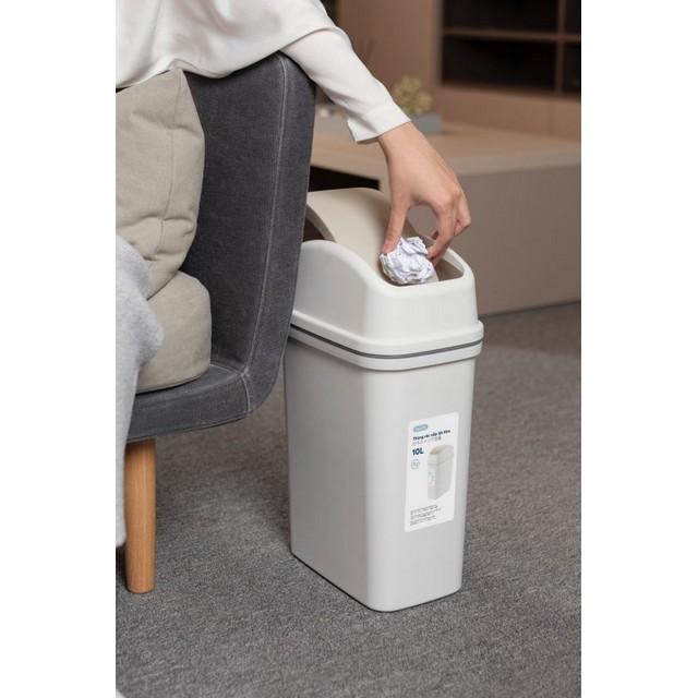 Thùng Rác Nhựa Cao Cấp Nắp Lật 10 Lít Inochi Nhật Bản (261 x 170 x 425 mm) - Giao màu ngẫu nhiên