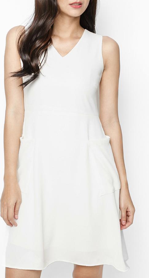 Đầm Nữ Xòe Mint Basic - Trắng - Size L