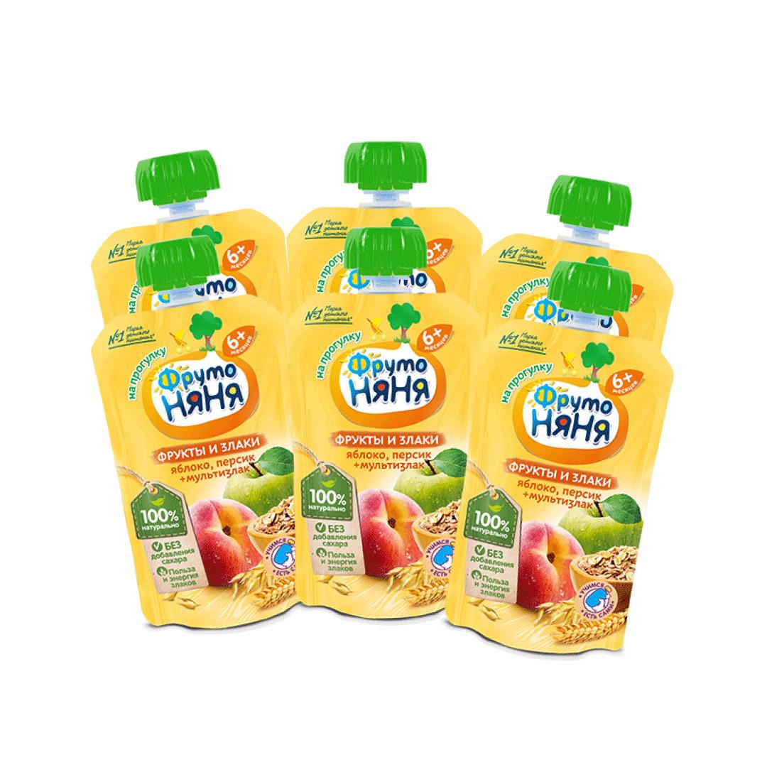 Combo 6 Gói Trái cây nghiền vị táo, đào và ngũ cốc Fruto Nyanya 130g