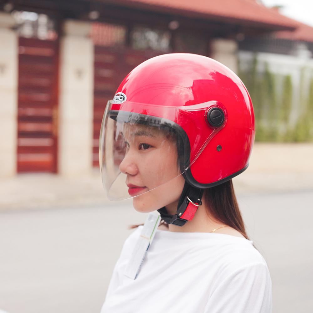 Mũ Bảo Hiểm GRO Cả Đầu Có Kính, Bảo hành 6 tháng T818.Kính dài - Xanh Than Nhám
