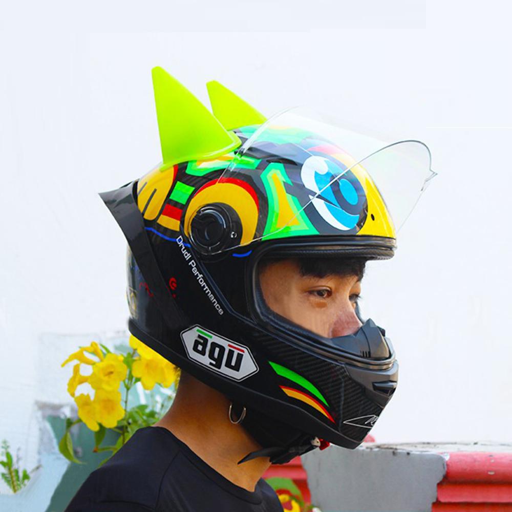 Combo nón fullface AGU tem rùa 06 siêu chất gắn sừng batman xanh lá và đuôi gió (Kính Trà)_ Mũ bảo hiểm phượt