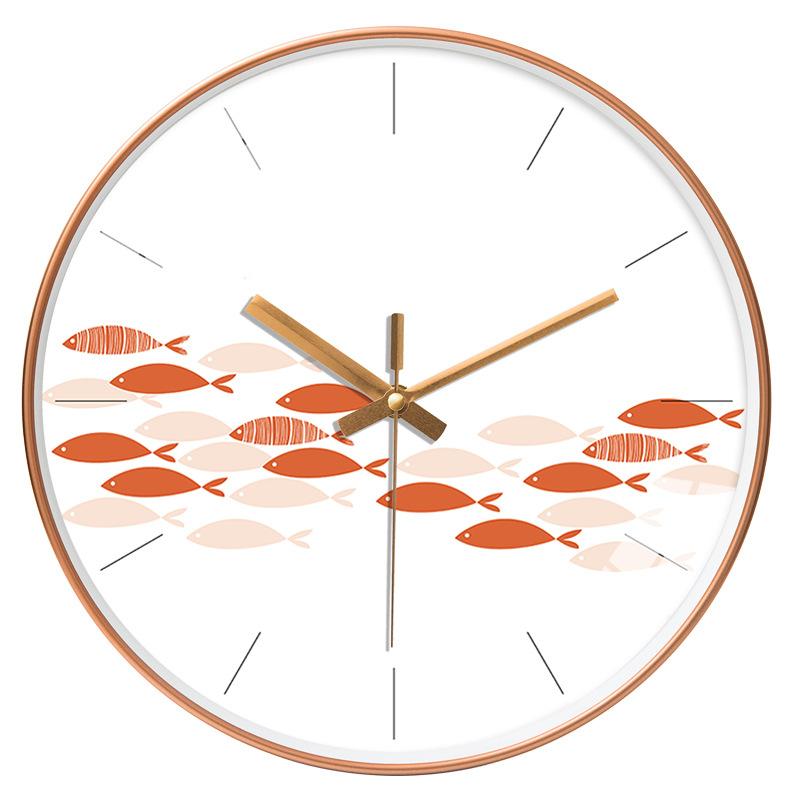 Đồng hồ treo tường tròn nền trắng đàn cá 30cm