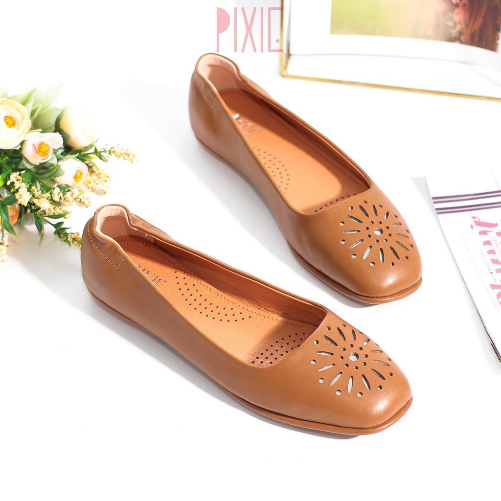 Giày Búp Bê Mũi Vuông Đế Âm Da Mềm Cắt Hoa Trang Trí Màu Nâu Pixie P526
