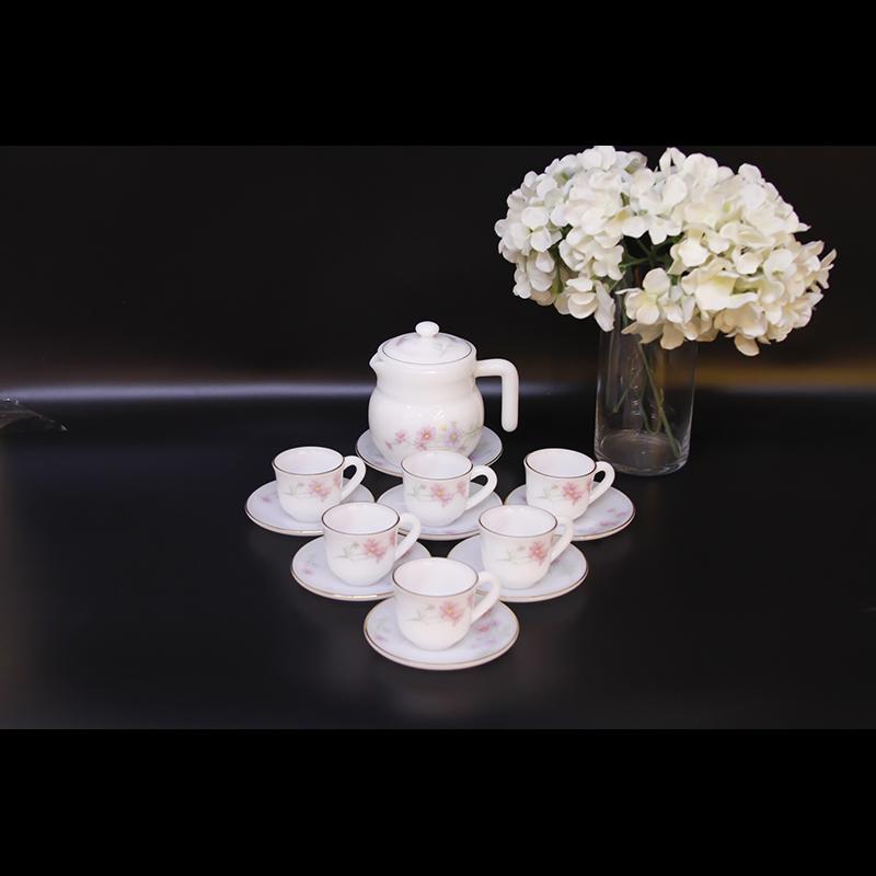 Bộ ấm trà thủy tinh ngọc MP USA Homeset P3066HLSL Hoa hồng
