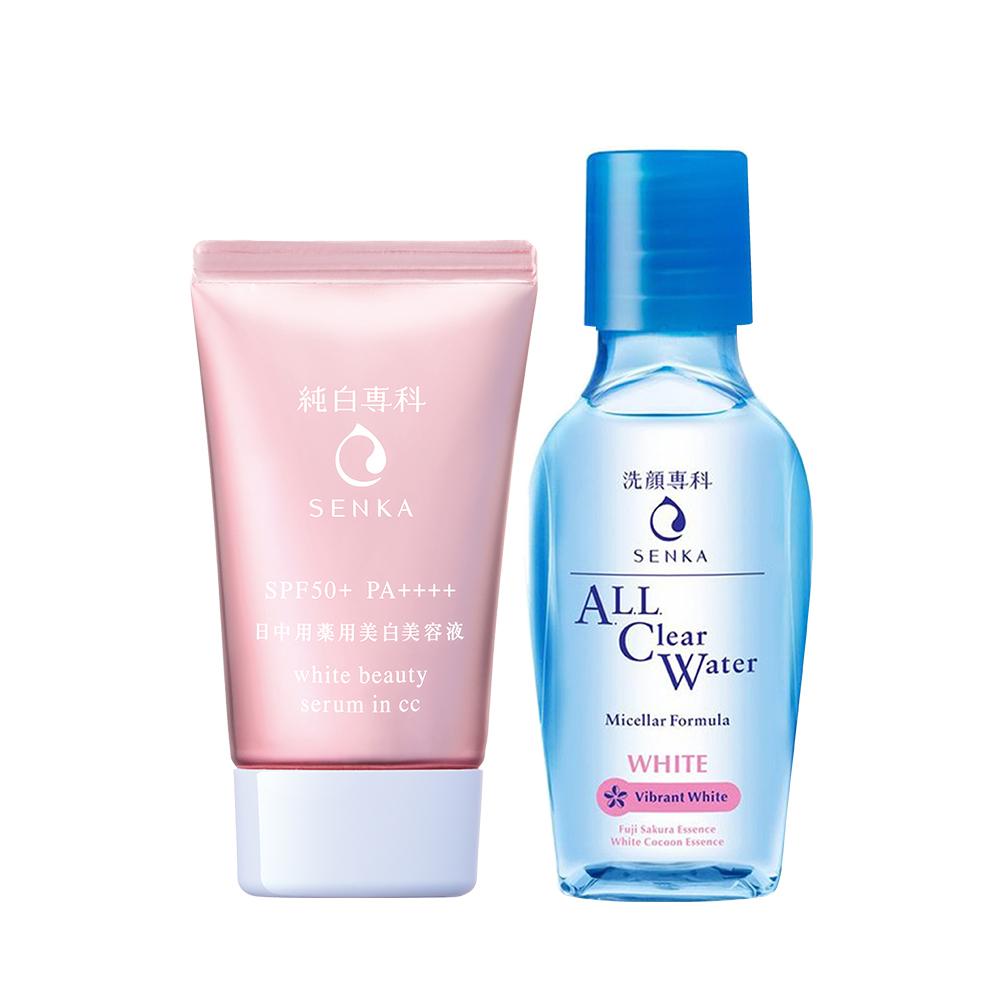 Combo Chống nắng serum 3 trong 1 Senka White Beauty CC 40g + Nước tẩy trang Senka All Clear White 70ml