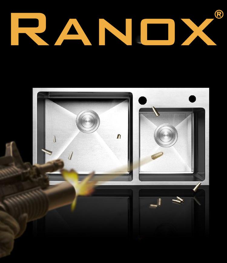 Combo bộ chậu rửa bát lệch RANOX và vòi  rửa bát 2 đường nước RN46701