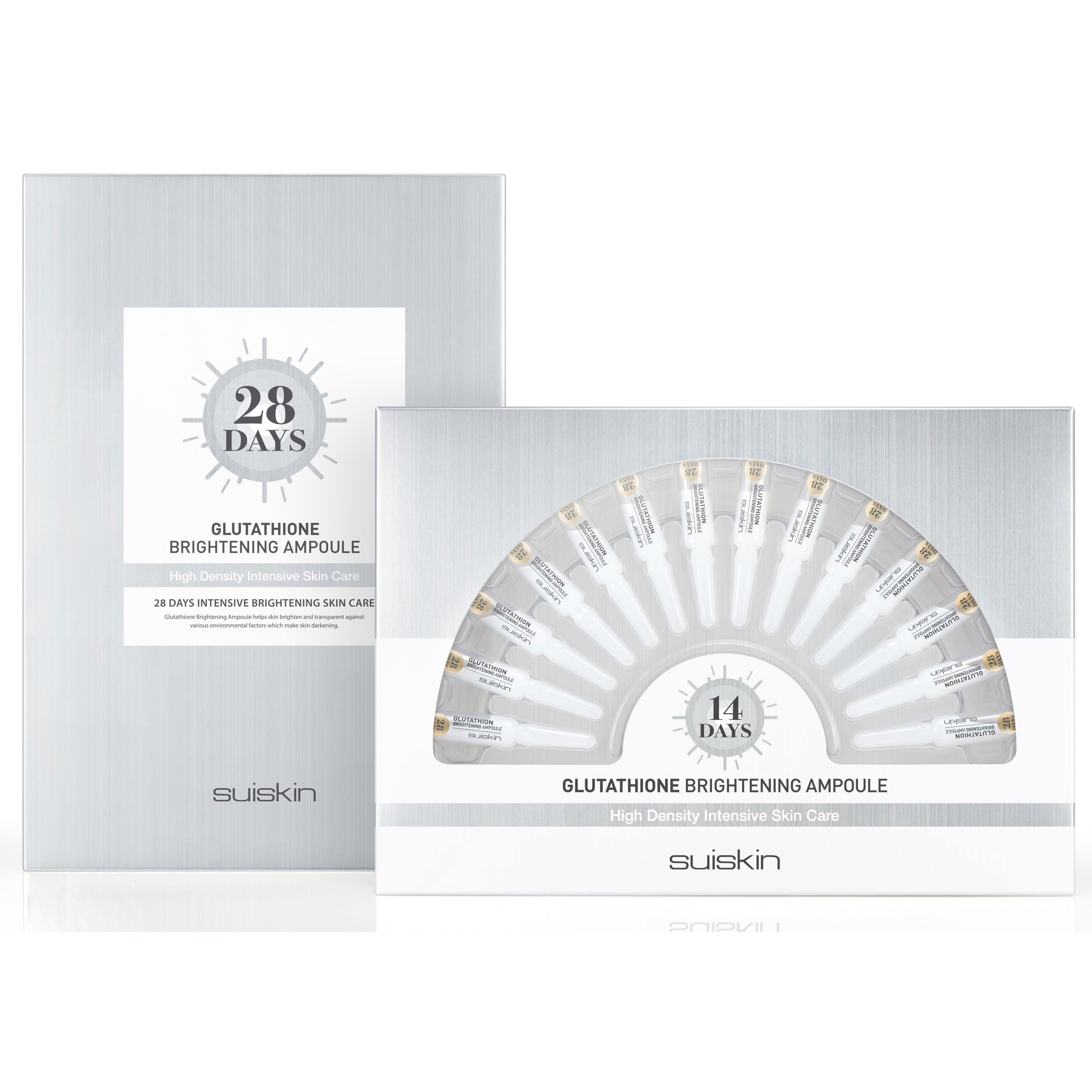 Set 28 ống Tinh chất dưỡng trắng da mờ thâm nám Suiskin Glutathione Brightening Ampoule 1.5ml x28