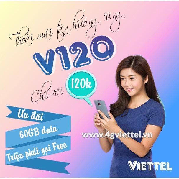 Thánh Sim 4G Viettel Gói V120 - Khuyến Mại 2GB/Ngày, Gọi Nội Mạng Miễn Phí + 50 Phút Ngoại Mạng - Hàng Chính Hãng