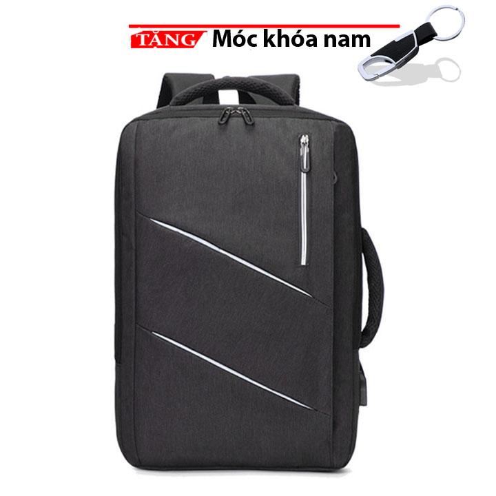 Cặp đựng laptop - Balo công sở có phản quang có sạt Kẻ Xéo Đôi MR4 có chống nước kép vào vali tặng móc khóa nam