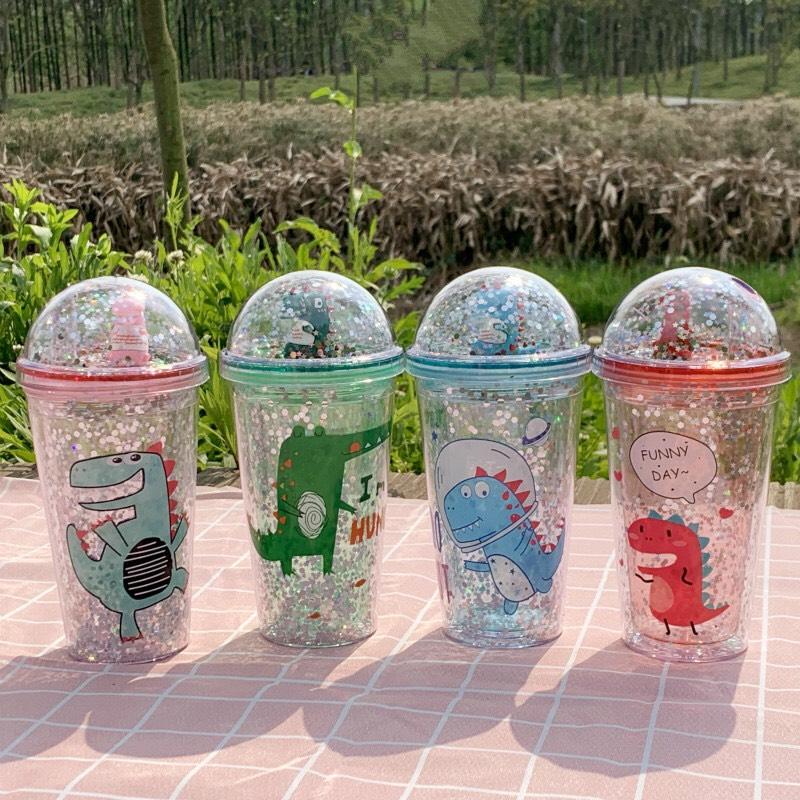 Bình Nước Kim Tuyến Nhiều Màu Siêu Cute Kèm Ống Hút 450ml - TẶNG 1 MÓC KẸP DỄ THƯƠNG