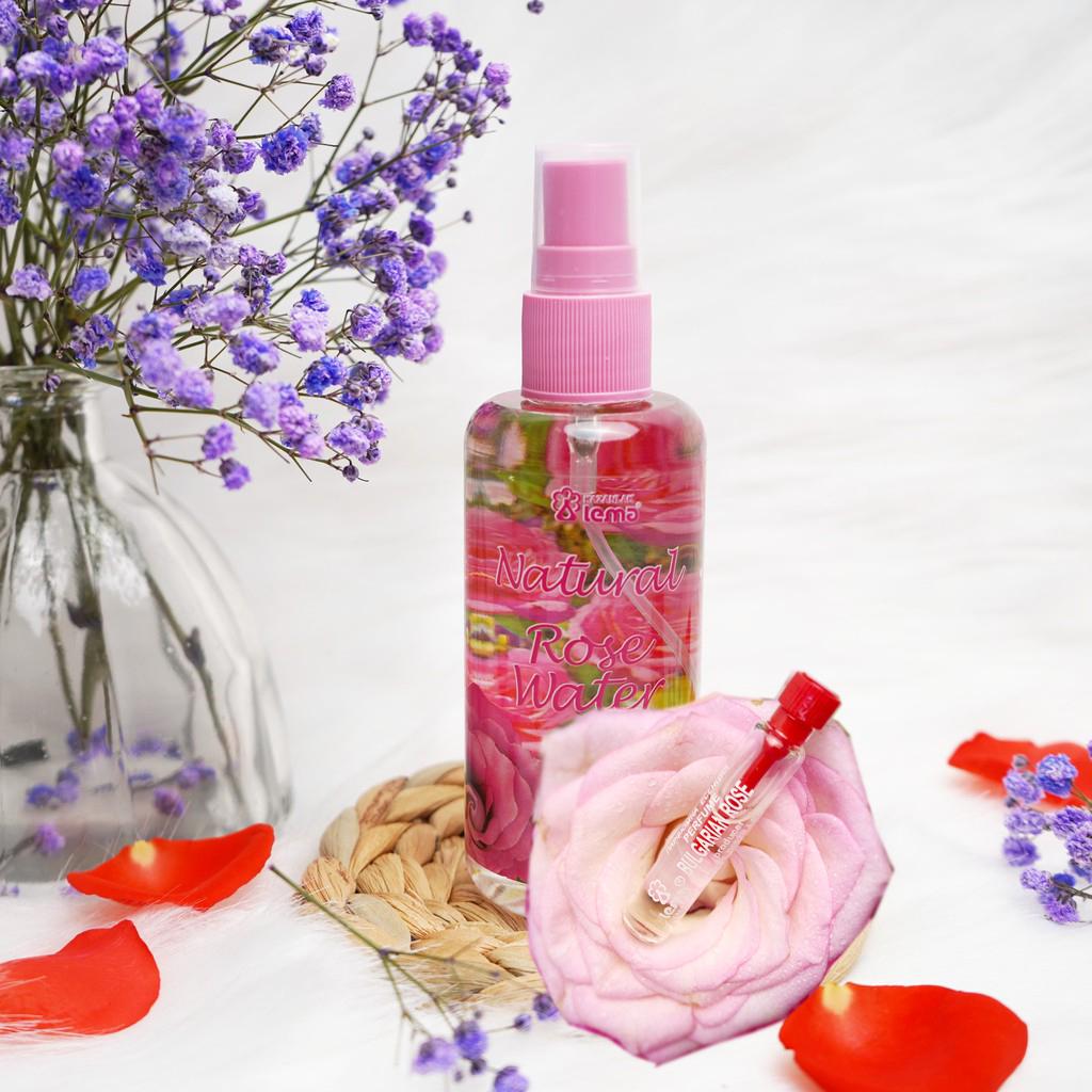 COMBO CẶP ĐÔI Nước hoa hồng Bulgaria thương hiệu Lema 100ml dạng xịt và nước hoa tinh dầu hoa hồng 2.1ml