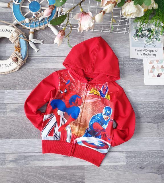 Áo khoác chống nắng bé trai siêu nhân người nhện biệt đội siêu anh hùng siêu nhân người nhện size nhí đại