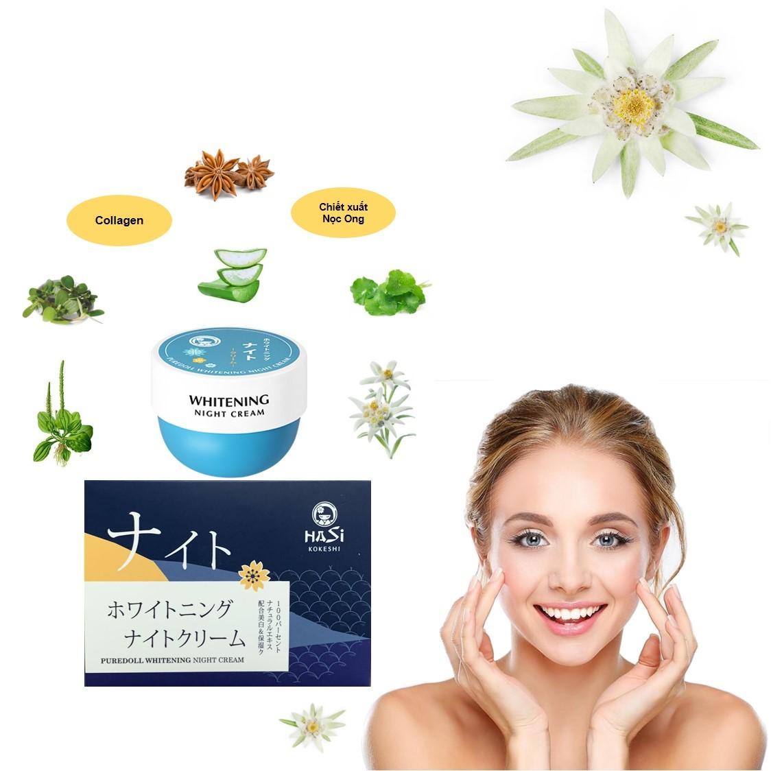 Bộ Dưỡng Da Ban Ngày & Ban Đêm Hasi Kokeshi Puredoll Whitening Day Cream &  Night Cream - Bộ chăm sóc da mặt | MyPhamTONA.com