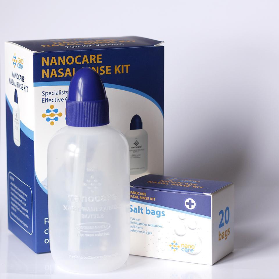 Bình rửa mũi cho trẻ em và người lớn NANOCARE TẶNG 20 GÓI MUỐI