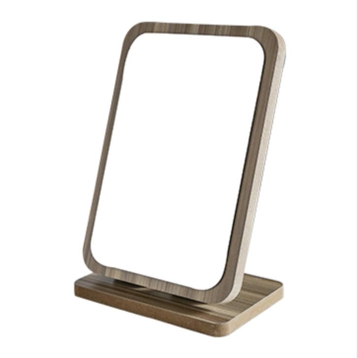 Gương để bàn gỗ nâu kèm lược 23x16cm