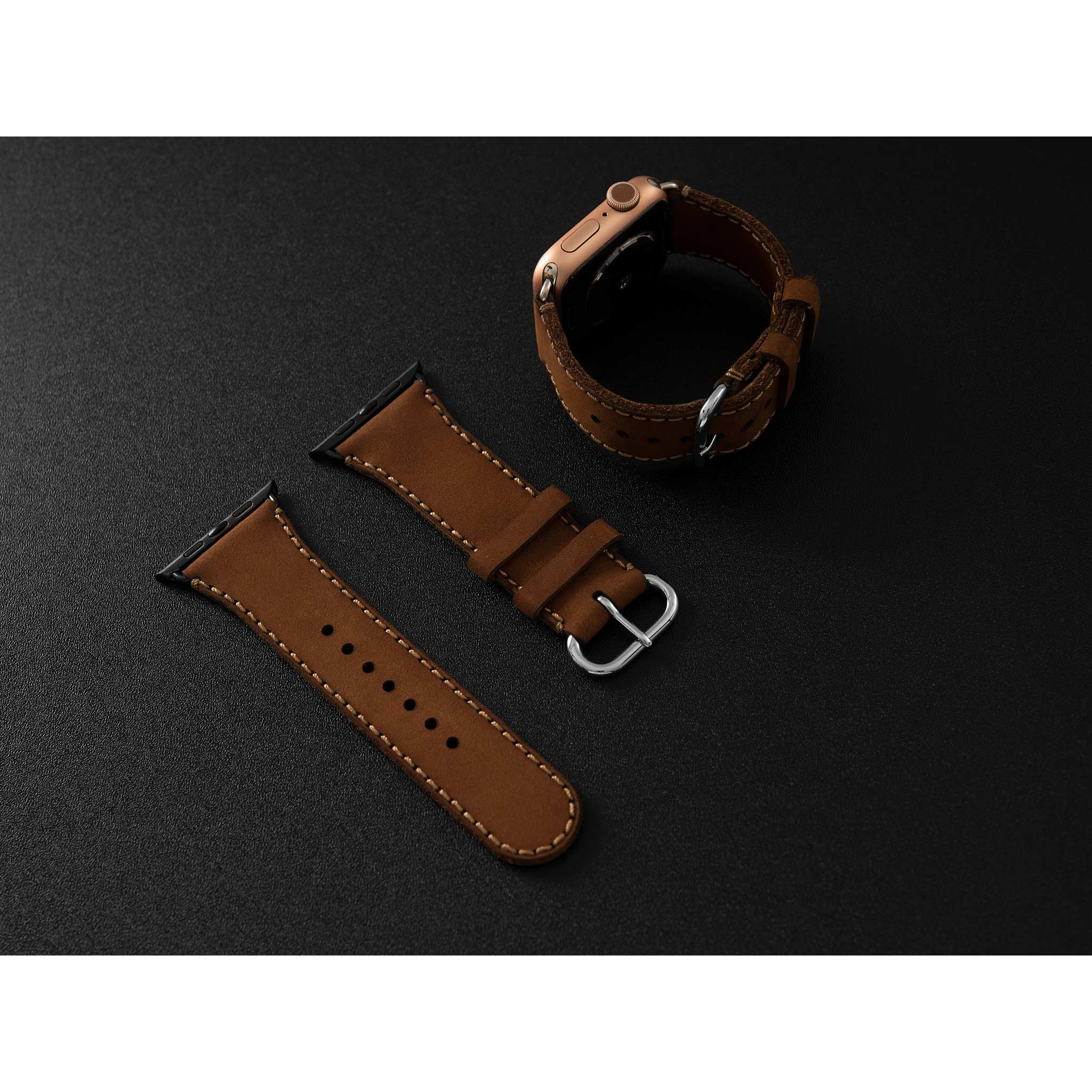Dây da đồng hồ SEN Apple Watch size 38/40 - CHÍNH HÃNG KHACTEN.COM - NÂU SÁP - 175 - ADAPTER ĐEN