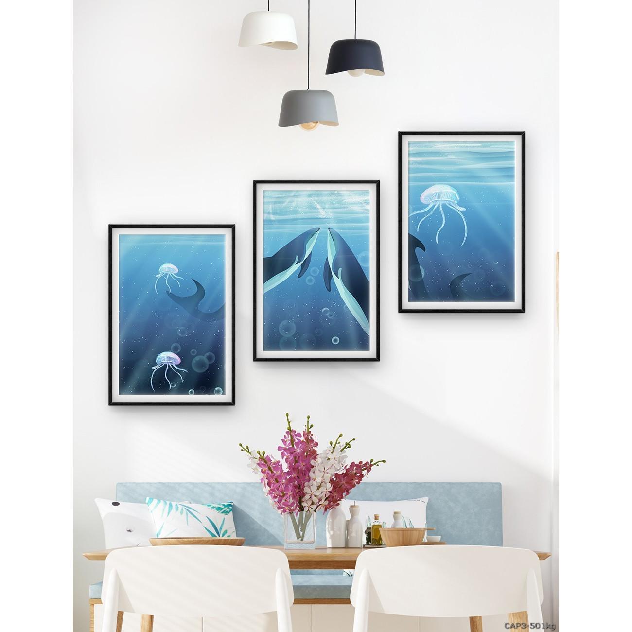Tranh đóng khung động vật biển xanh- Bộ 3 khung 40*60
