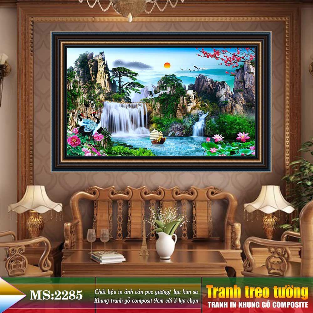 Tranh treo tường phòng khách, phòng ngủ SƠN THỦY HỮU TÌNH khung gỗ composit chất liệu pvc gương / lụa kim sa. MS:2285L9