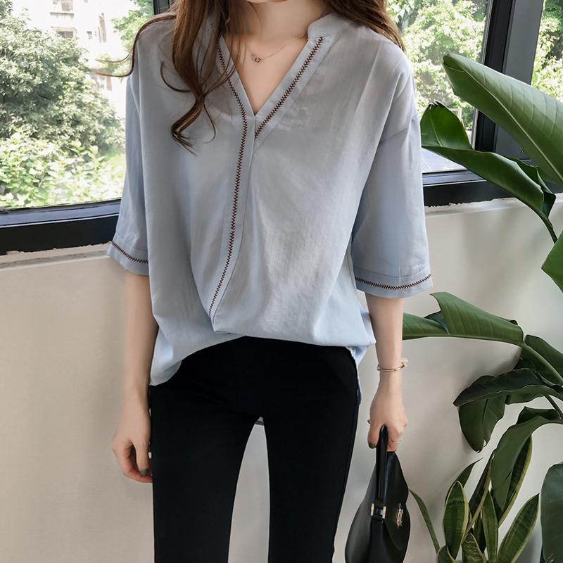 Women Summer Retro Embroidery Loose Medium Sleeve Shirt - Blue Size M