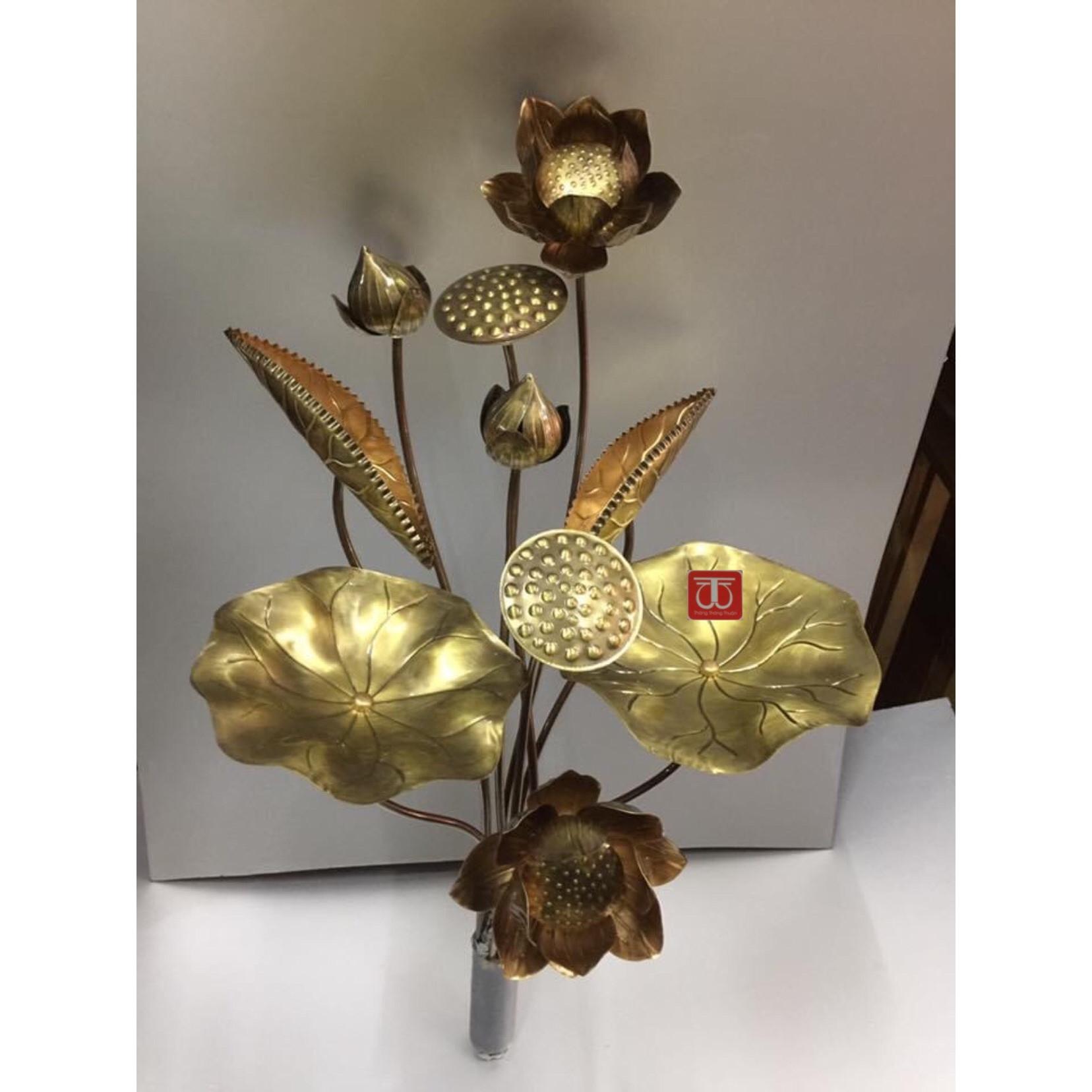 Hoa sen thờ bằng đồng vàng  hun mầu giã cổ  - TL165