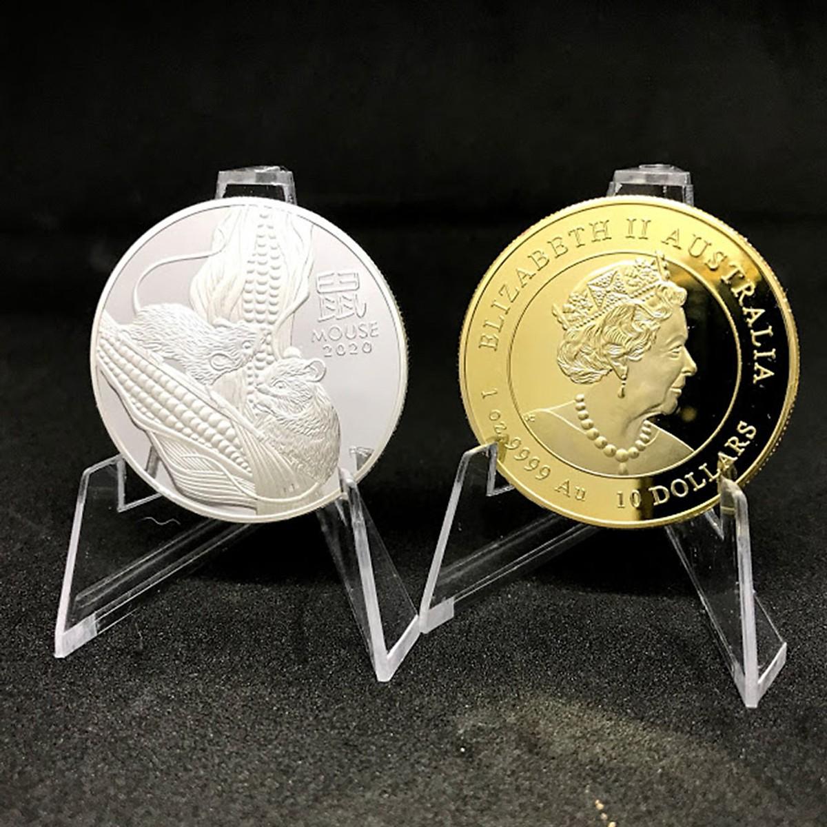 Đồ lưu niệm - Cặp Đồng Xu Hình Con Chuột Của Úc Mạ Kim Loại Vàng Bạc 2020